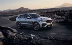 Download wallpapers Jaguar F-Pace SVR, 2019, 4k, front view, luxury SUV, sunset, new silver F-Pace, British cars, Jaguar