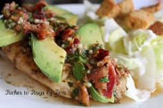 Avocado Chicken with Bacon Cilantro and Garlic Dressing.