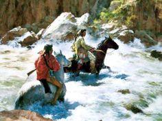 Indian Braves Riding Wild Waters. Howard Terpning kK