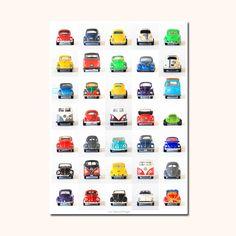 Affiches Les Petites Autos - voitures vintage - VW cox Combi