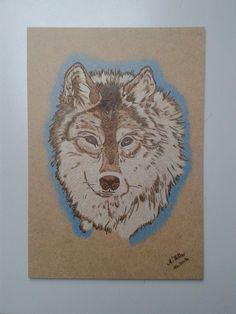Wolf Dekoschild Brandgravur coloriert, Handarbeit Unikat Größe A4