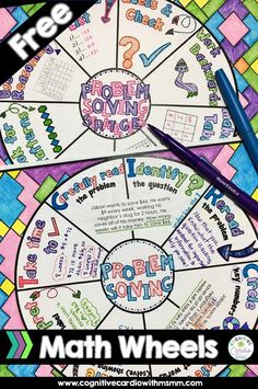 Try these free problem solving math wheels! You can use them as part of your problem solving instruction or as a center activity. Students can keep in their math notebooks all year. Problem Solving Activities, Math Games, Sixth Grade Math, Math Talk, Math Groups, Math Notebooks, Interactive Notebooks, Math Classroom, Classroom Ideas