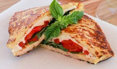 Grilled Caprese on Cauliflower Crust (omit or reduce the cheese inside the sandwich)