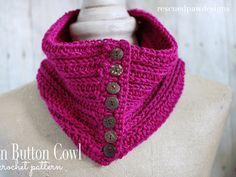 Penn Button Cowl - Free Crochet Pattern Tutorial by Rescued Paw Designs Crochet Scarves, Crochet Shawl, Crochet Clothes, Knit Crochet, Knit Shawls, All Free Crochet, Easy Crochet, Crochet Designs, Crochet Patterns