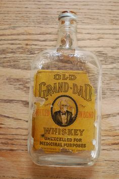 Old Grand Dad 1910's Labeled Whiskey Pint Antique Bottle Prohibition.