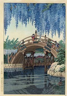 Japanese Art by KAWASE HASUI => bridge, river