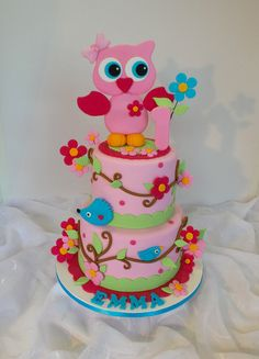 Design was brought in by client, inspired by Claudia Behrens Girly Birthday Cakes, Cupcake Cakes, Cupcakes, Safari Theme, Girl Cakes, Themed Cakes, Clever, Bakery, Owl