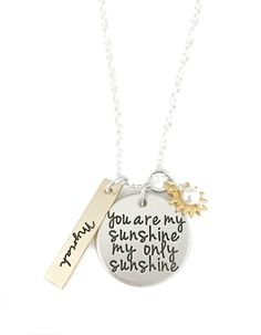 Womens Gift Gift Jewelry Stocking Stuffer Silver Spoon Handle Pendant Stamped Spoon Pendant My Only Sunshine Silver Pendant Necklace