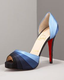 "Blue Ombre ""Armadillo Striped Satin d'Orsay"" - Christian Louboutin"