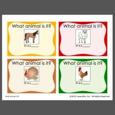 "Students complete the sentence, ""It is a ___"". Use to expand sentences and teach farm animal vocab. Veterans Day, Task Cards, Speech Therapy, Farm Animals, Sentences, Curriculum, Teaching Ideas, Students, Language"