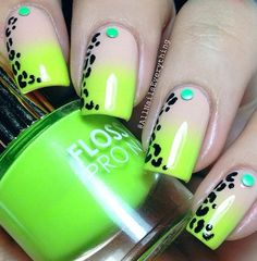 Neon Touch With Leopard Nail Art #nails #nailart  #womentriangle