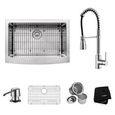 KRAUS All-in-One Farmhouse Apron Front Stainless Steel 30 in. Single Bowl Kitchen Sink with Chrome Kitchen Faucet-KHF200-30-KPF1612-KSD30CH - The Home Depot