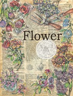 PRINT: Flower Mixed Media Drawing on Antique by flyingshoes