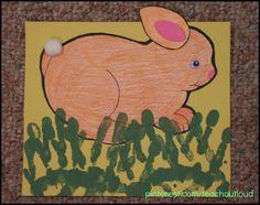 Bunny cutout, cotton balls, handprint grass?