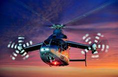 Experimental Eurocopter X3 hybrid flies at sunset. Credit: Alain Ernoult, Bagneux, France.