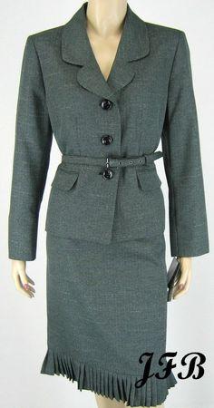 Le Suit Black Multi Jacket Blazer Skirt Suit with Belt Sz 12P $200 New 7724 #LeSuit #SkirtSuit