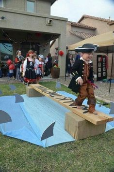 Walk the Plank! Great for pirate party, shark party, etc. Pirate Day, Pirate Theme, Pirate Party Games, Pirate Activities, Pirate Decor, Mermaid Party Games, Pirate Party Decorations, Pirate Songs, Pirate Fairy Party