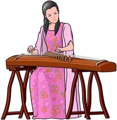 古筝。中国の楽器(guzheng player. Chinese string instruments)