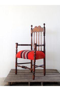 Vintage blanket upholstered chair