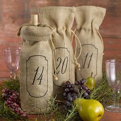 Burlap Wine Bags - Table Numbers - 11-20