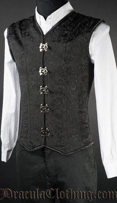 This v-shaper is incredibly stylish, and gives your outfit an instant victorian flair. Use it the way you would use a vest, and get a shaping effect at the same time! Looks incredible worn over a white shirt. Get a great V-shape in this Corset Vest. Medieval Clothing Men, Steampunk Clothing, Steampunk Fashion, Gothic Fashion Men, Mens Fashion, Fashion Outfits, Gothic Men, Ski Fashion, Fashion Hair