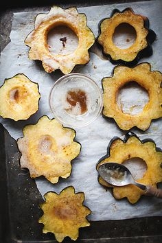 // roasted acorn squash with browned butter and sage.