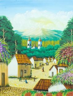 'Afternoon at Play' - Multicolor Mexican Landscape Painting