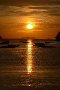 Sunrise in Kinkai Bay, Seto Inland Sea, Okayama, Japan