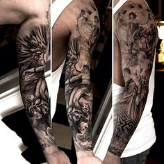 Labirynth Religious tattoo sleeve