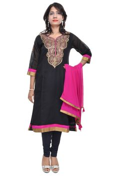 Black Long Straight Embroidered #Kurta With Dupatta  #kurti #craftshopsindia