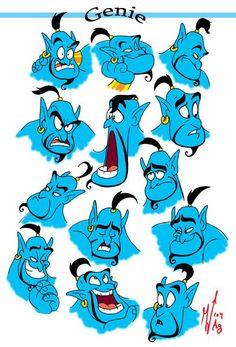 Genie Expressions - I LOVE genie from Aladdin Genie Aladdin, Aladdin Art, Disney And Dreamworks, Disney Pixar, Walt Disney, Disney Characters, Disney Fan Art, Disney Love, Disney Magic
