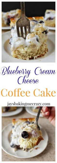 Blueberry Cream Cheese Coffee Cake- a thick cream cheese layer, fresh blueberries, and lots of crumb topping. So delicious!!