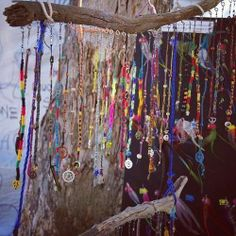 """Here is a great idea for a prayer/offering """"tree"""". Setting up a 'hanging branch' in a sacred space, & making prayer/offering ties, braids, friendship bracelets, etc. to attach as desired/needed. You can add things like charms (heart shaped charms for love, a Buddha charm for inner peace, etc) or collect things from nature, add personal items, etc. The possibilities are endless! Above all, make sure the branch you use is a branch that has already fallen, and thank the tree for its sacrifice"""