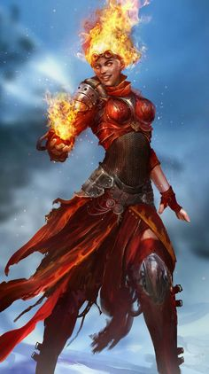Female Ifrit Magus - Pathfinder PFRPG DND D&D d20 fantasy