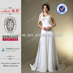 Stunning One Shoulder Handmade Flowers Side Split Leg Chiffon Beach Wedding Dresses, View sexy beach wedding dress , jueshe Product Details from Suzhou Jueshe Wedding & Evening Dress Factory on Alibaba.com