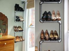 If only I had more than a few pairs of heels... Plumbing Pipe via Apartment Therapy