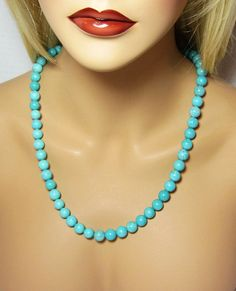 Turquoise Beaded Necklace Large Round Beads by LuvaBead http://etsy.me/14eTlGS via @Etsy #turquoise #necklace