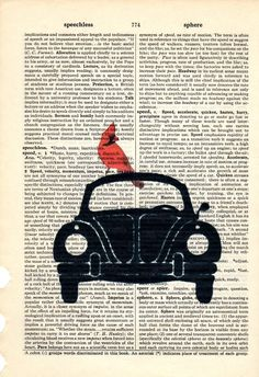 Ride a Bug VW dictionary book page collage art by Txalteredart, $8.00