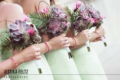 succulent wedding bouquets, green and pink wedding