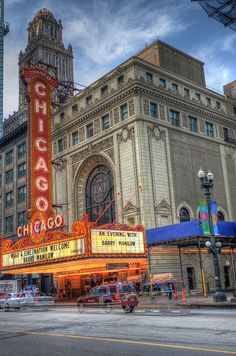 The Chicago Theater - once a glorious old movie palace - now a venue for concerts and stage shows. Inside is completely refurbished to its original magnificence.