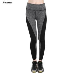 Aocessen Women's High waist yoga Pants Sports Leggings Fitness Elastic Yoga Leggings Workout Sports Pants XXL size Gym Running