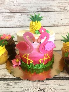 Pineapples And Flamingos Smash cake and cupcake combo for a first birthday!