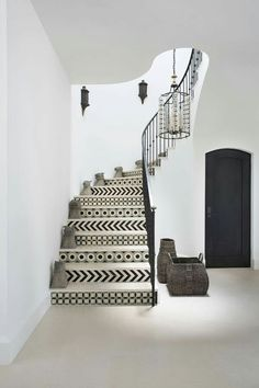 Black and White modern stairs.