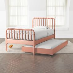 Our functional Jenny Lind Trundle Bed doubles as an extra bed for sleepovers or underbed storage when space is limited. Full Bed With Trundle, Twin Trundle Bed, Bunk Bed, Spool Bed, Jenny Lind, White Bedding, Gold Bedding, Target Bedding, Neutral Bedding