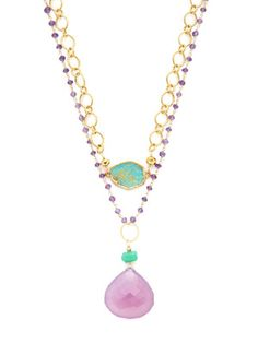 Alanna Bess Jewelry Chrysoprase & Purple Chalcedony Teardrop Pendant Necklace