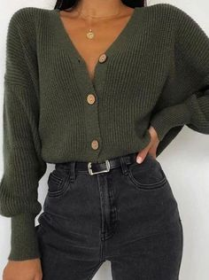 Women s fashion pure color long sleeved knit top fashion mode ados mode corenne mode femme mode haute couture mode tendance outfits tenues tenues chic Simple Fall Outfits, Winter Fashion Outfits, Cute Casual Outfits, Fall Winter Outfits, Sweater Fashion, Look Fashion, Fashion Clothes, Summer Outfits, Fashion 1920s