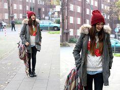 Asos Beanie, Zara Coat, Zara Jumper, Zara Denim Shirt, H&M Jeans, Zara Scarf, Sacha Boots