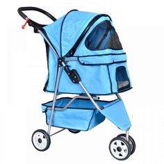 New Pet Stroller Cat Dog Cage 3 Wheels Durable mesh Ventilation Stroller Travel Folding Carrier Blue -437 -- Click image to review more details. (This is an affiliate link) #DogCarriers