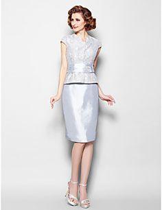 Lanting+Bride®+Sheath+/+Column+Plus+Size+/+Petite+Mother+of+the+Bride+Dress+Knee-length+Short+Sleeve+Lace+/+Taffeta+withBeading+/+Sash+/+–+HKD+$+782.01