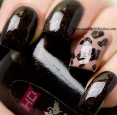Nail art with leopard print as an accent